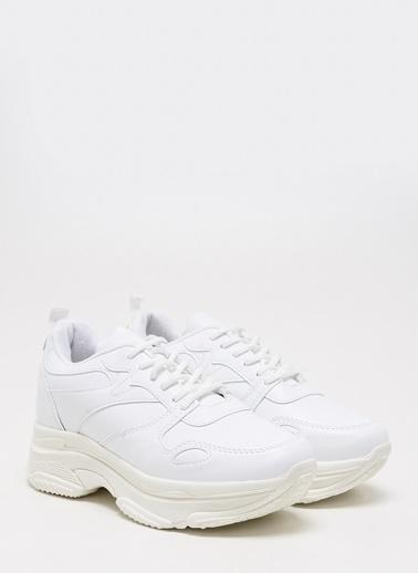 F By Fabrika Kadın Bej Sneakers POLA Beyaz